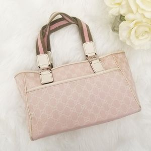 RARE Gucci GG Canvas Web Tote Pink Ivory Horsebit